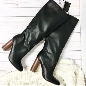 NWT Forever 21 Black Faux Leather Knee High Boots